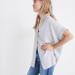 Madewell Central blue white stripe shirt size L